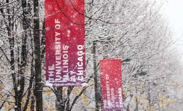 UIC banners in snow