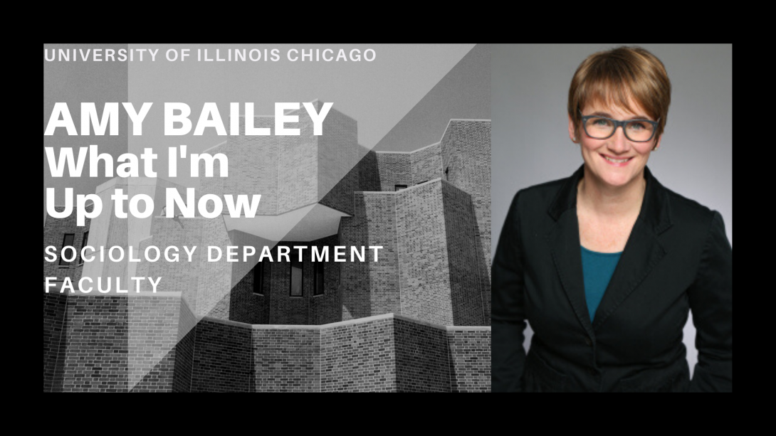 The left side of the photo is the UIC Behavioral Sciences Building and on the right side, Professor Amy Bailey is gazing ahead.