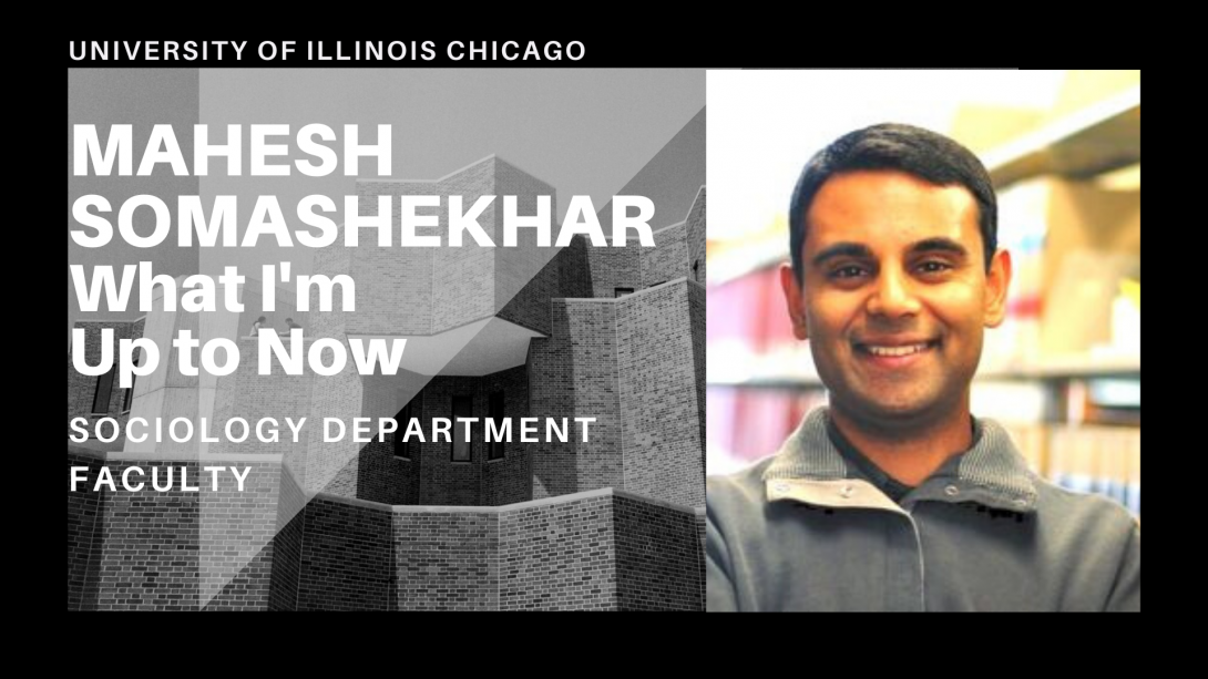 The left side of the photo is the UIC Behavioral Sciences Building and on the right side, Professor Mahesh Somashekhar is looking ahead.