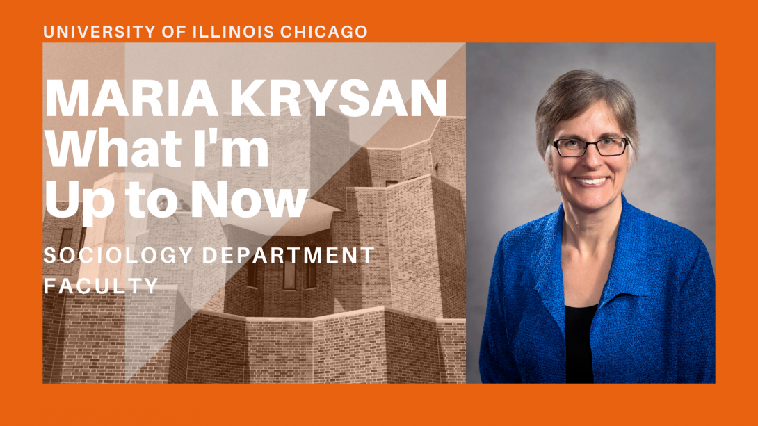 The left side of the photo is the UIC Behavioral Sciences Building and the right is Professor Krysan.